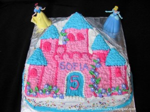 Princess Castle cake using Wilton Enchanted Castle cake pan