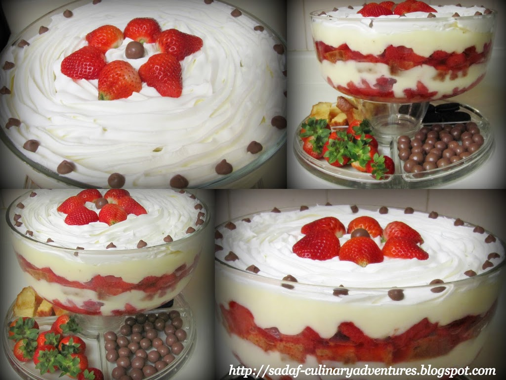 Quick Strawberry Trifle Custard Pudding Dessert recipe