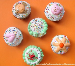 Carrot cupcakes with cream cheese frosting for kids