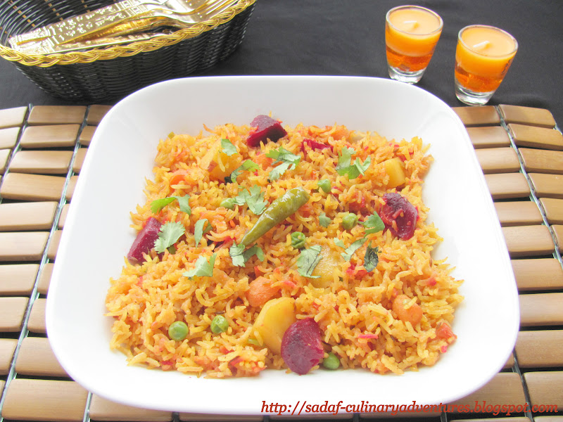 Spicy Vegetable Pulao with potatoes, peas, carrots, beets and bell pepper
