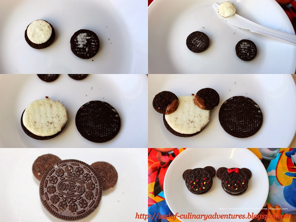 Step by step pictures for making Mickey and Minnie Oreos