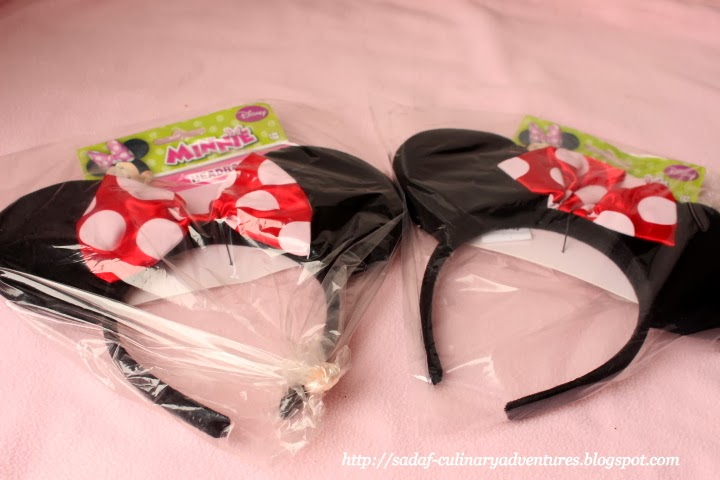 Red and White Minnie Mouse headbands from Party City