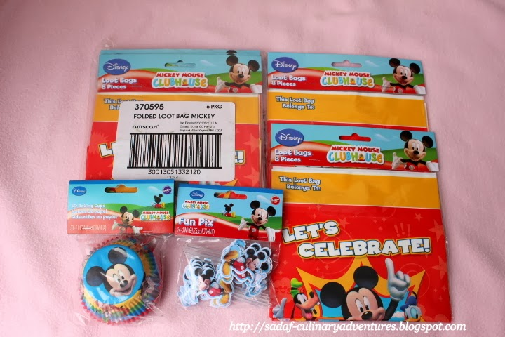 Mickey Mouse Clubhouse party supplies, loot bags, cupcake wrappers