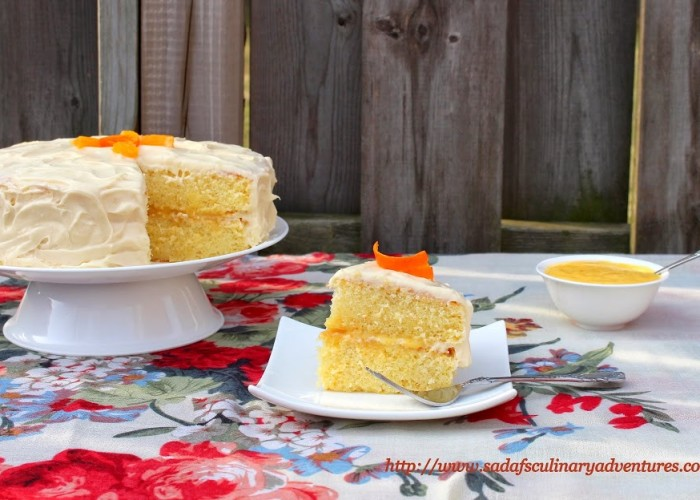 Orange Chiffon Cake with Orange Cream Cheese Frosting and Orange Curd Filling