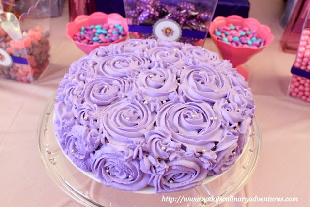 Sofia the First Purple Tres Leches Rosette Cake