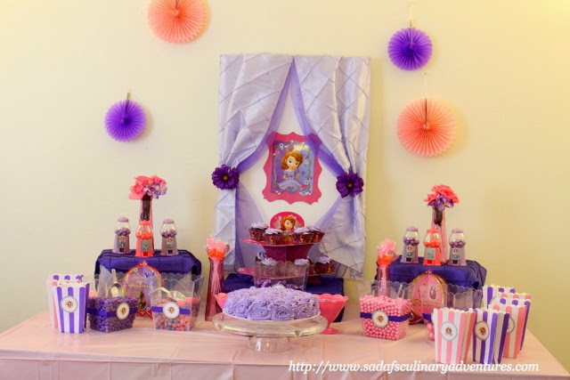 Sofia the First Dessert Table and Candy Buffet by Henna Decor