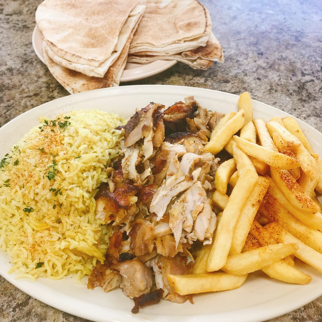 Chicken Shawarma Plate at Busy Boy Sandwiches Mediterranean Grill and Cafe Hillcroft Houston