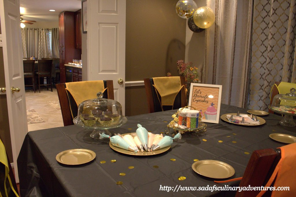 Black and Gold Cupcake Decorating Station for Welcome Ramadan party
