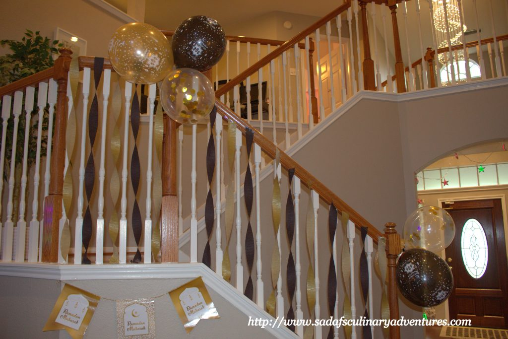 Black and Gold Ramadan Mubarak Balloons and banner for our Welcome Ramadan party