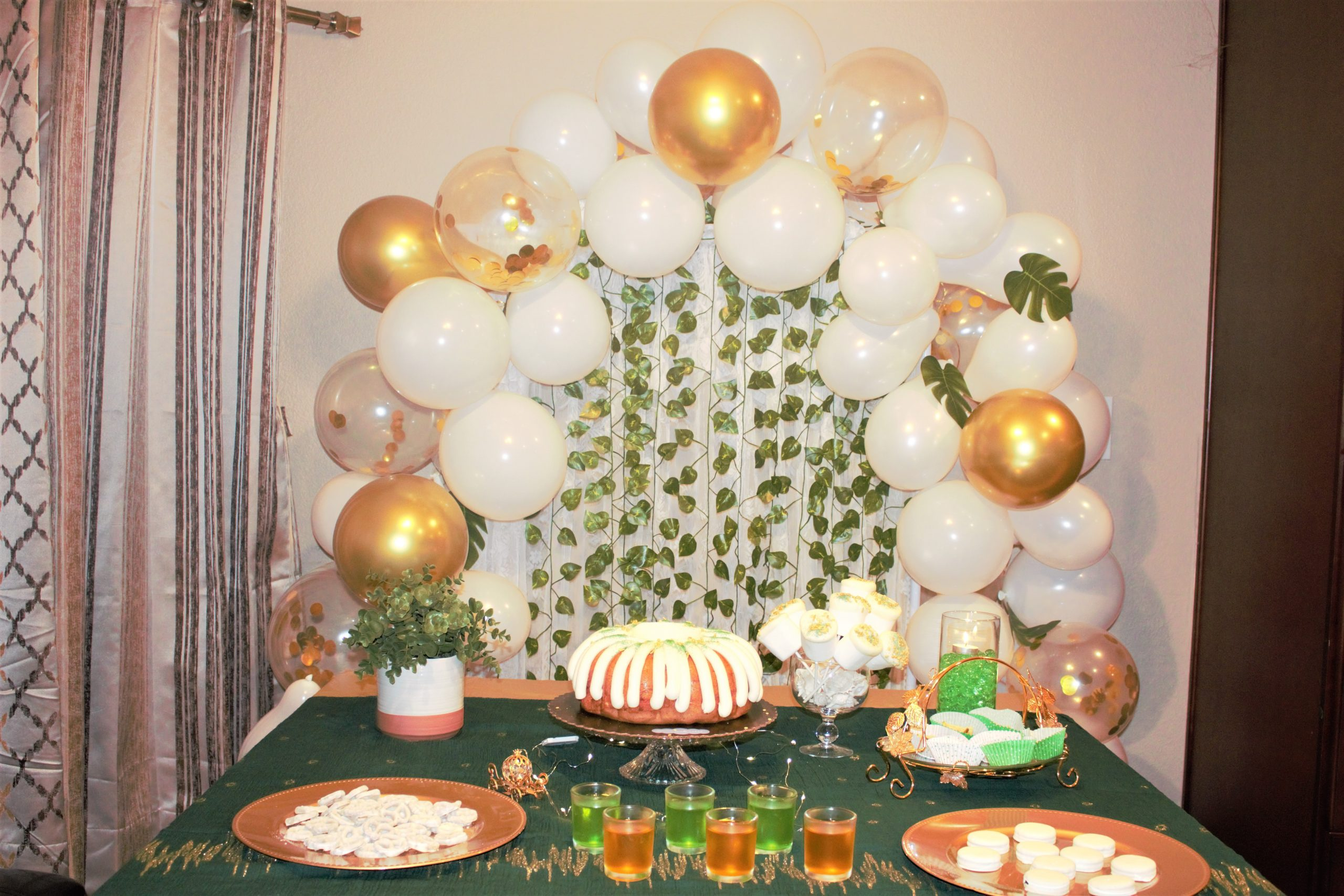 White Gold and Green Dessert Table
