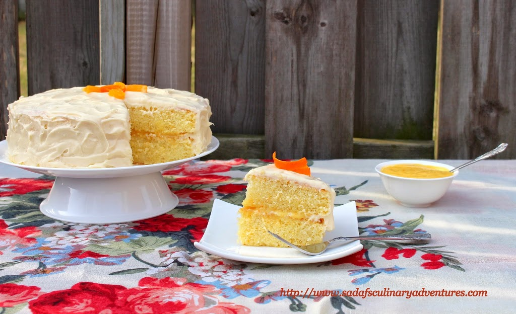 Orange Chiffon Cake with Orange Cream Cheese Frosting and Orange Curd Filling