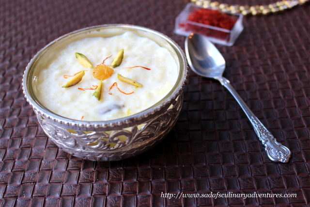 Saffron Kheer with condensed milk